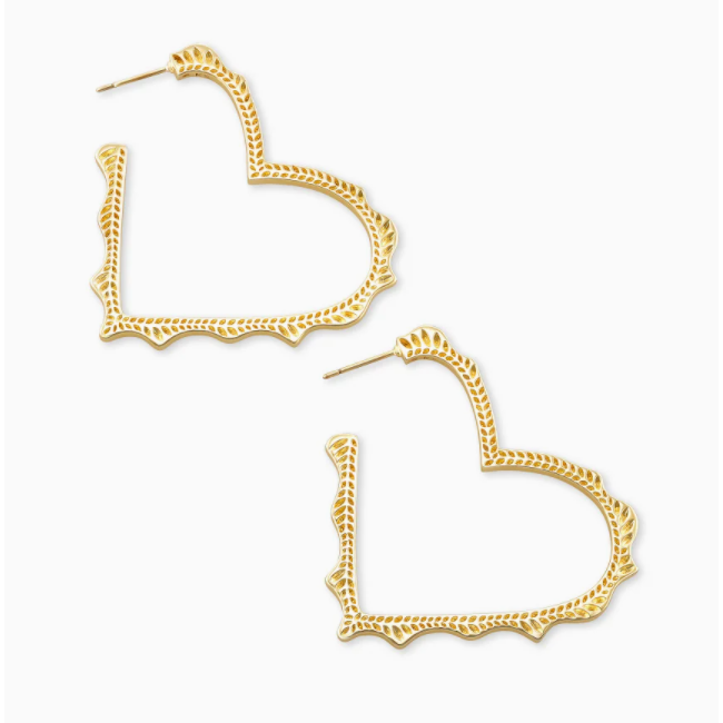 SOPHEE HEART HOOP EARRINGS - GOLD