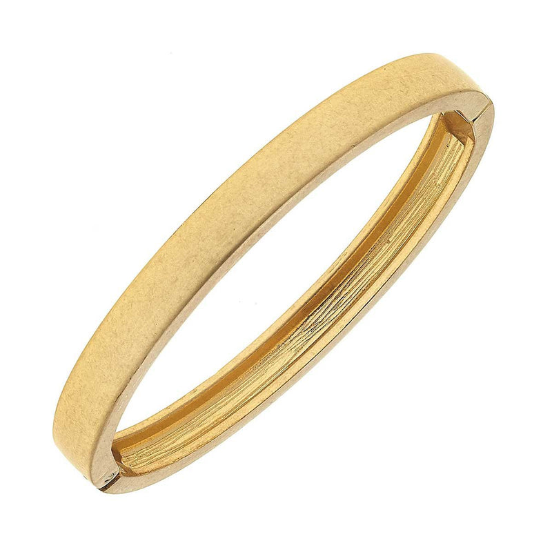 Haley Hinge Bangle in Worn Gold