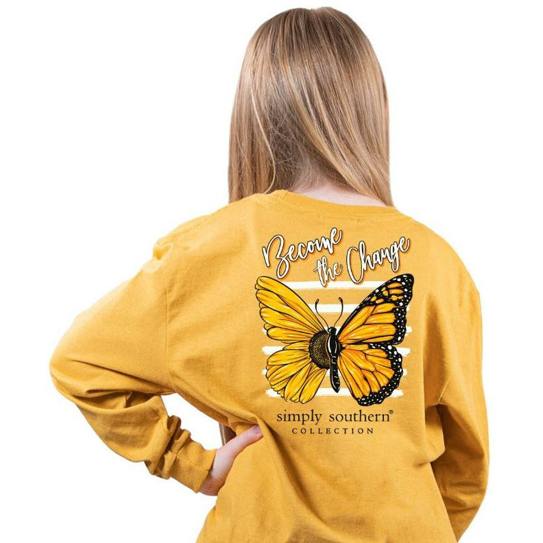 Youth Change (Mustard) Long Sleeve Simply Southern Tee