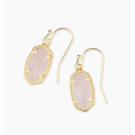 LEE DROP EARRINGS - GOLD - ROSE QUARTZ