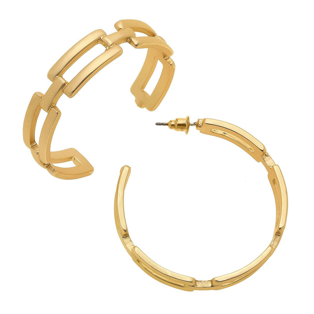 Edith Frozen Chain Link Hoop Earrings in Matte Gold