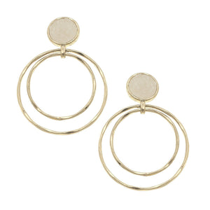 Druzy Double Ring Drop Earrings in Ivory
