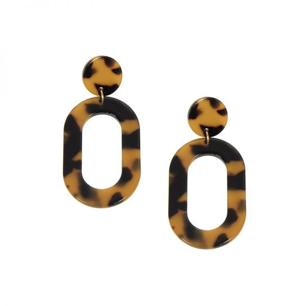 Oval Resin Post Earring - Tortoise