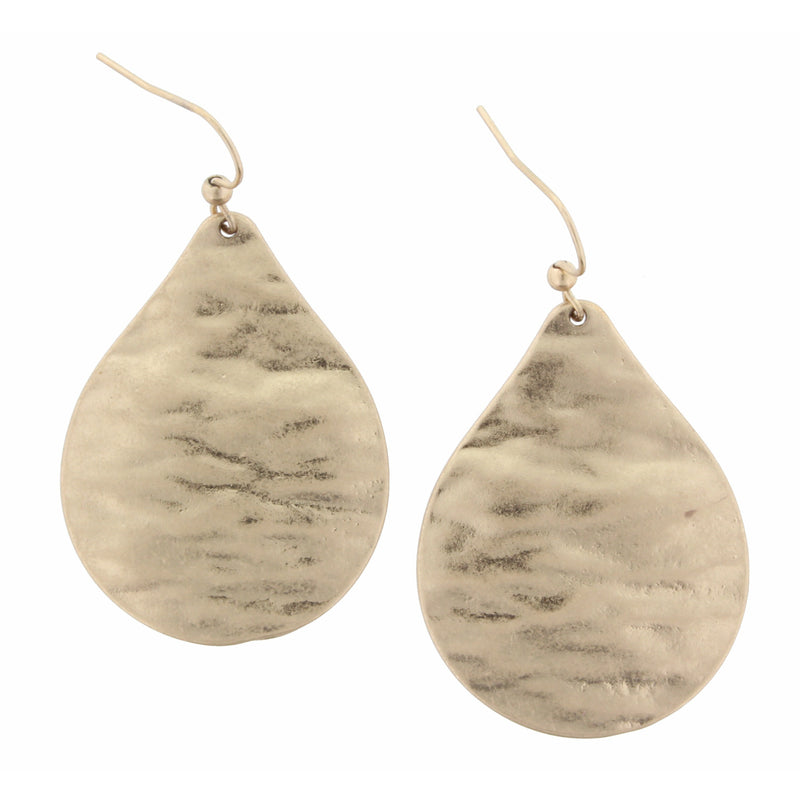 Gold Hammered Tear Drop Dangle Earrings