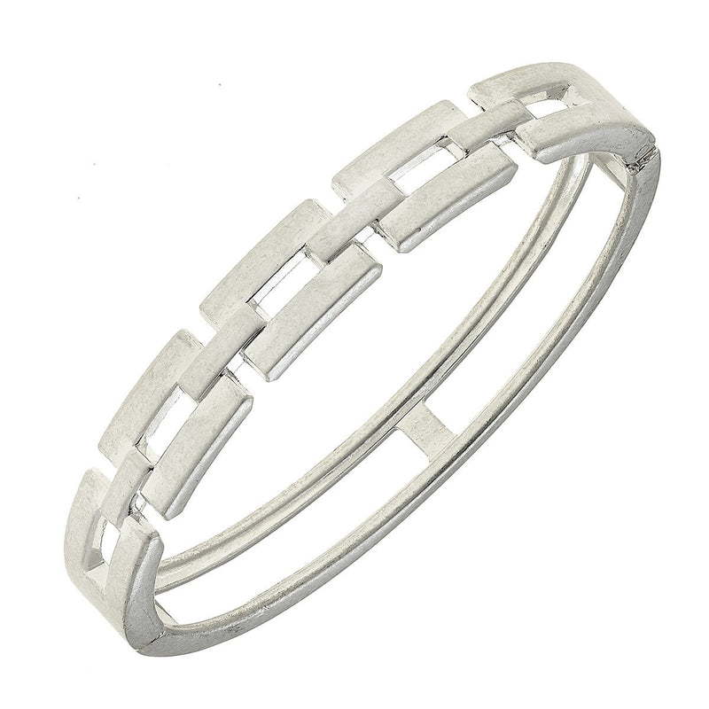 Quinn Chain Link Hinge Bangle in Worn Silver