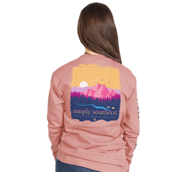 Youth Adventure (Rose) Long Sleeve Simply Southern Tee
