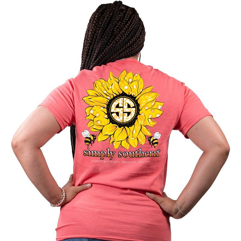 Sunflower (Coral) Simply Southern Tee