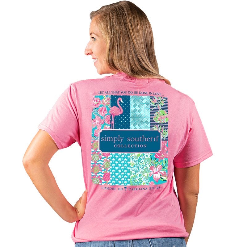 Youth Preppy Logo (Flamingo) Simply Southern Tee