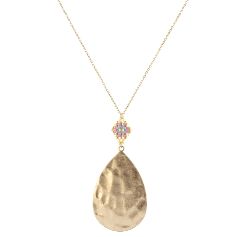 "30"" Gold Chain with Gold, Pink & Grey Pendant with Gold Teardrop, 3"" Ext"