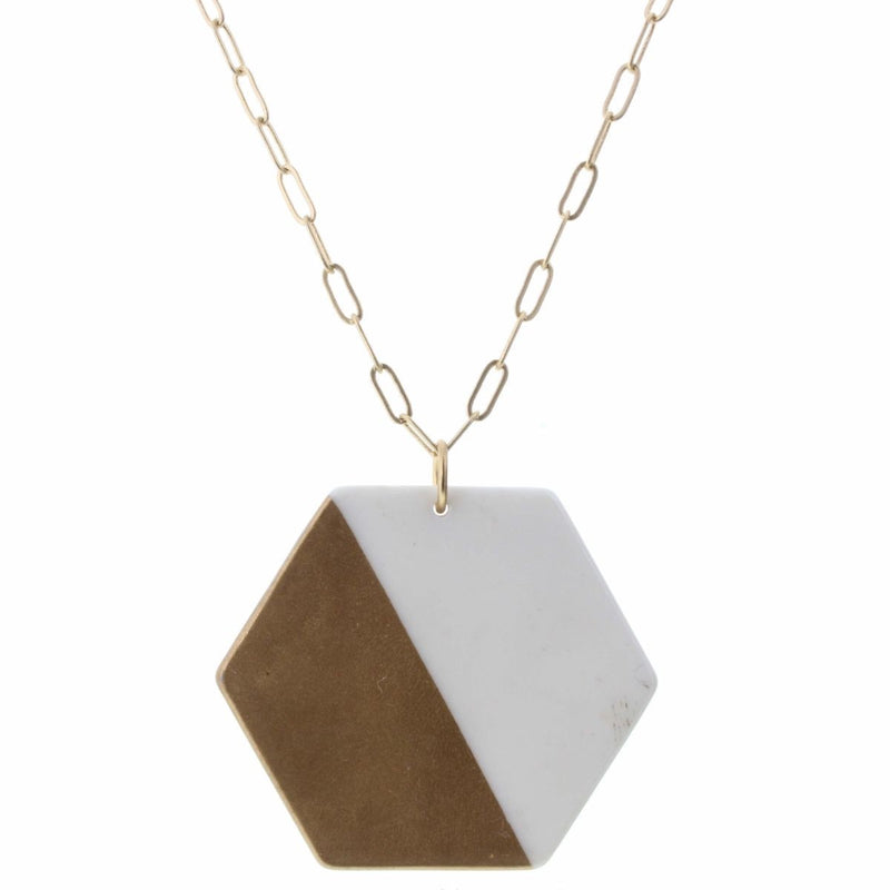 Blair Necklace - Colorblock Gold and White Hexagon Necklace