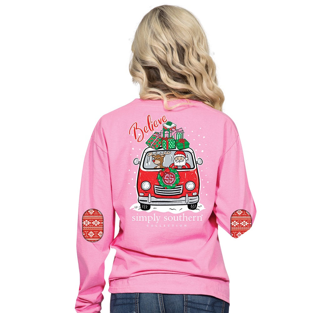 Youth Santa (Flamingo) Long Sleeve Simply Southern