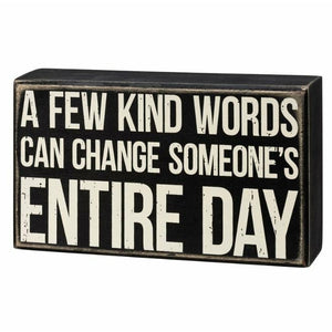 Kind Words Box Sign