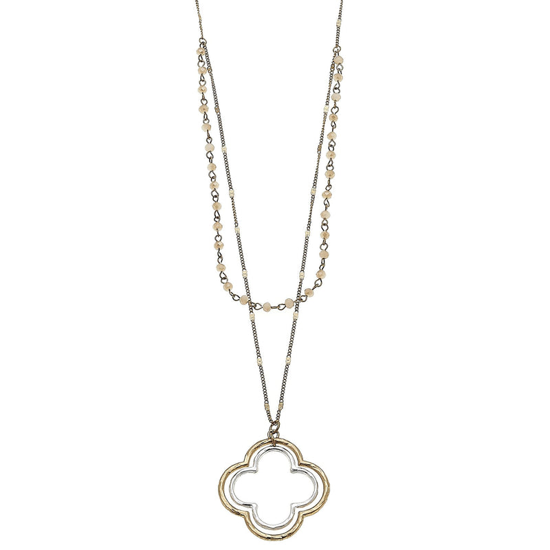 LAYERED GLASS QUATREFOIL PENDANT NECKLACE IN CHAMPAGNE