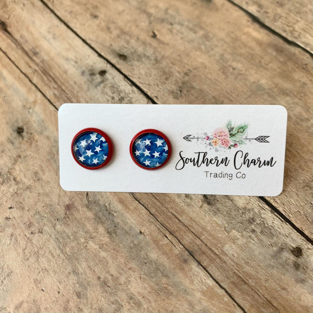 Blue Stars in Red Setting Earrings, 12mm