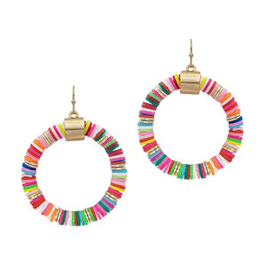 "Multi Rubber 2"" Circle Earring"