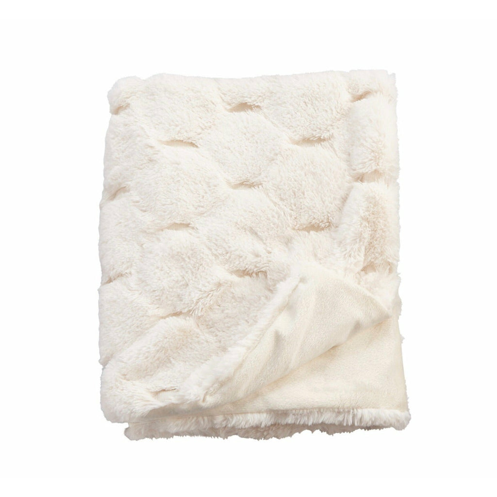 Ivory Fur Honeycomb Blanket ($6 to monogram)