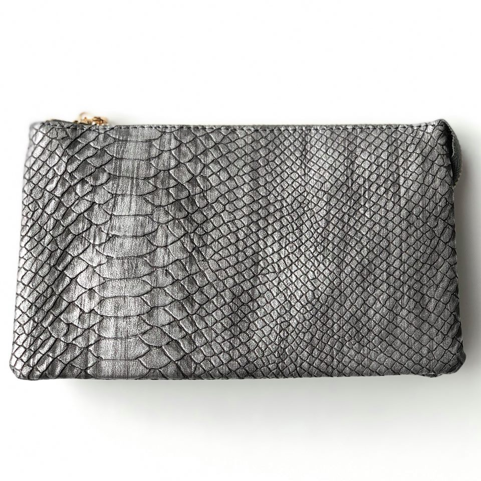 Pewter Snakeskin Wristlet Crossbody ($6 to Monogram)