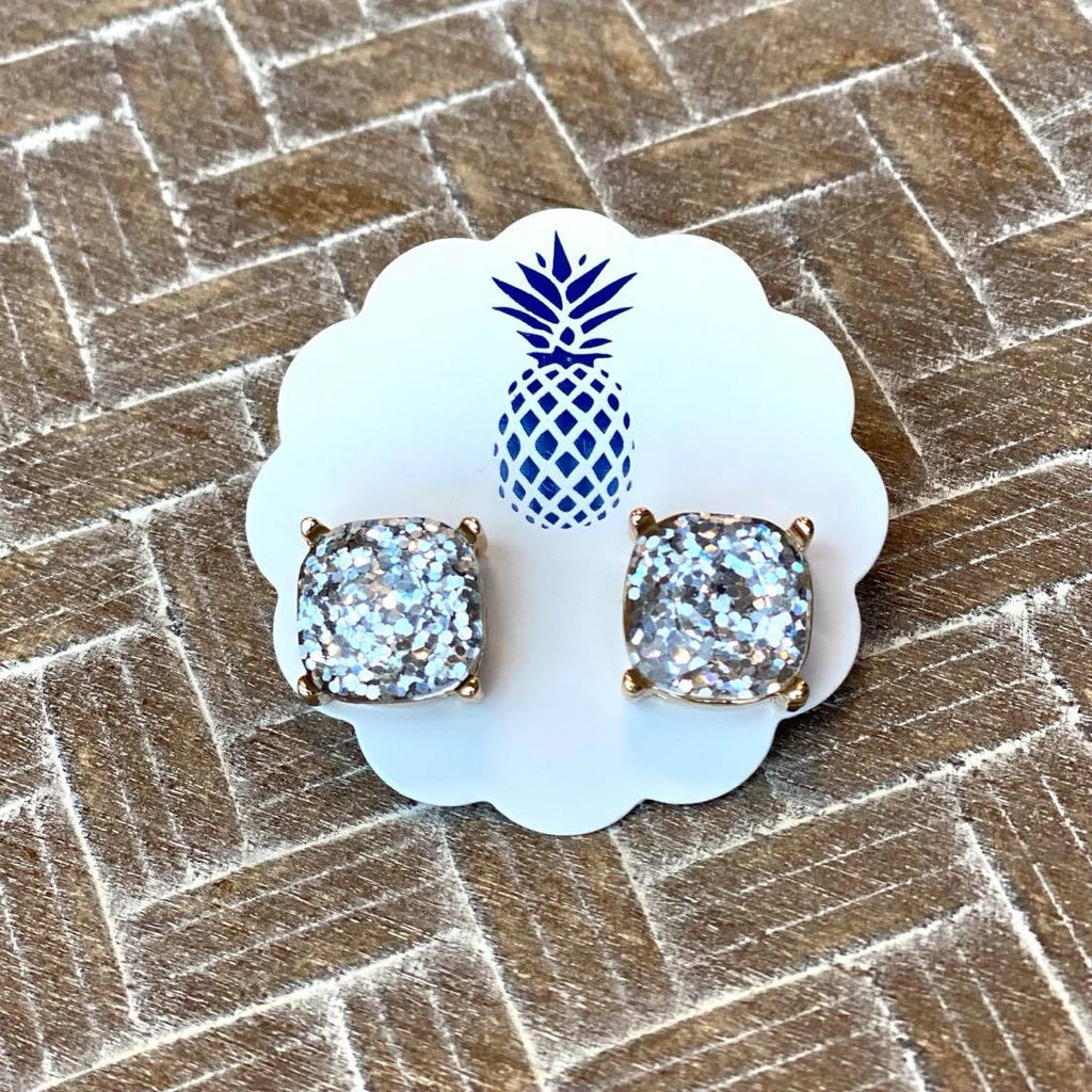 Square Confetti Glitter Stud Earrings