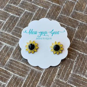 Sunflower Signature Enamel Stud Earrings