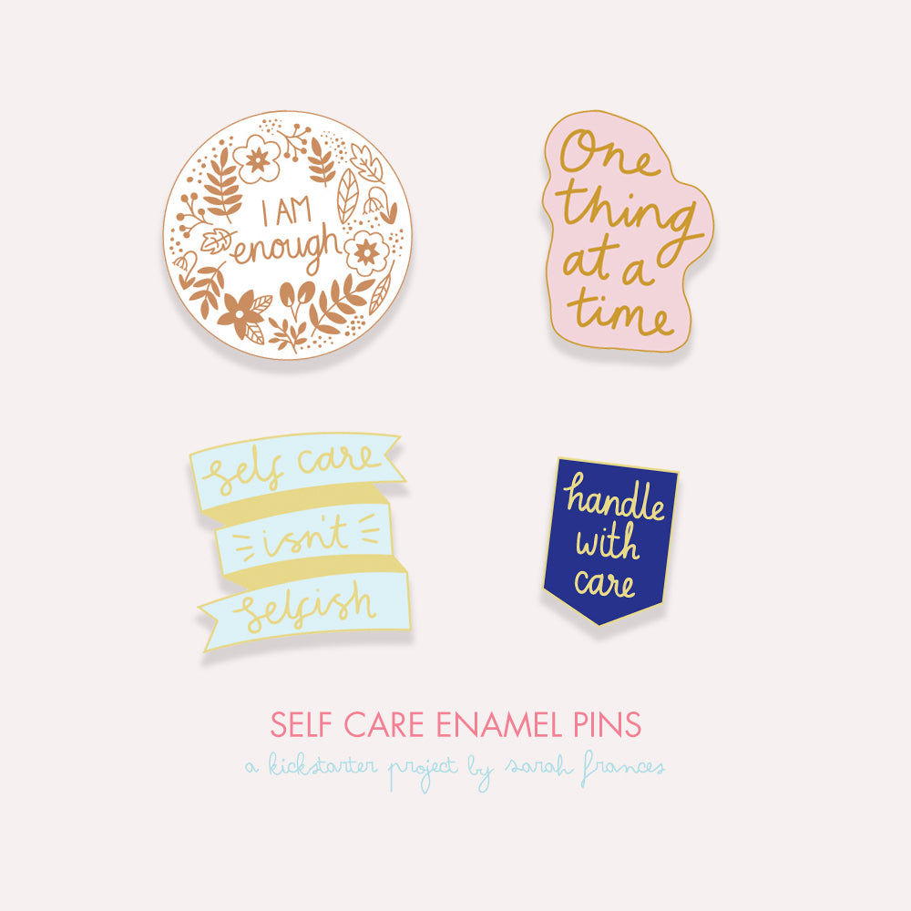 Self Care Enamel Pin Collection Kickstarter