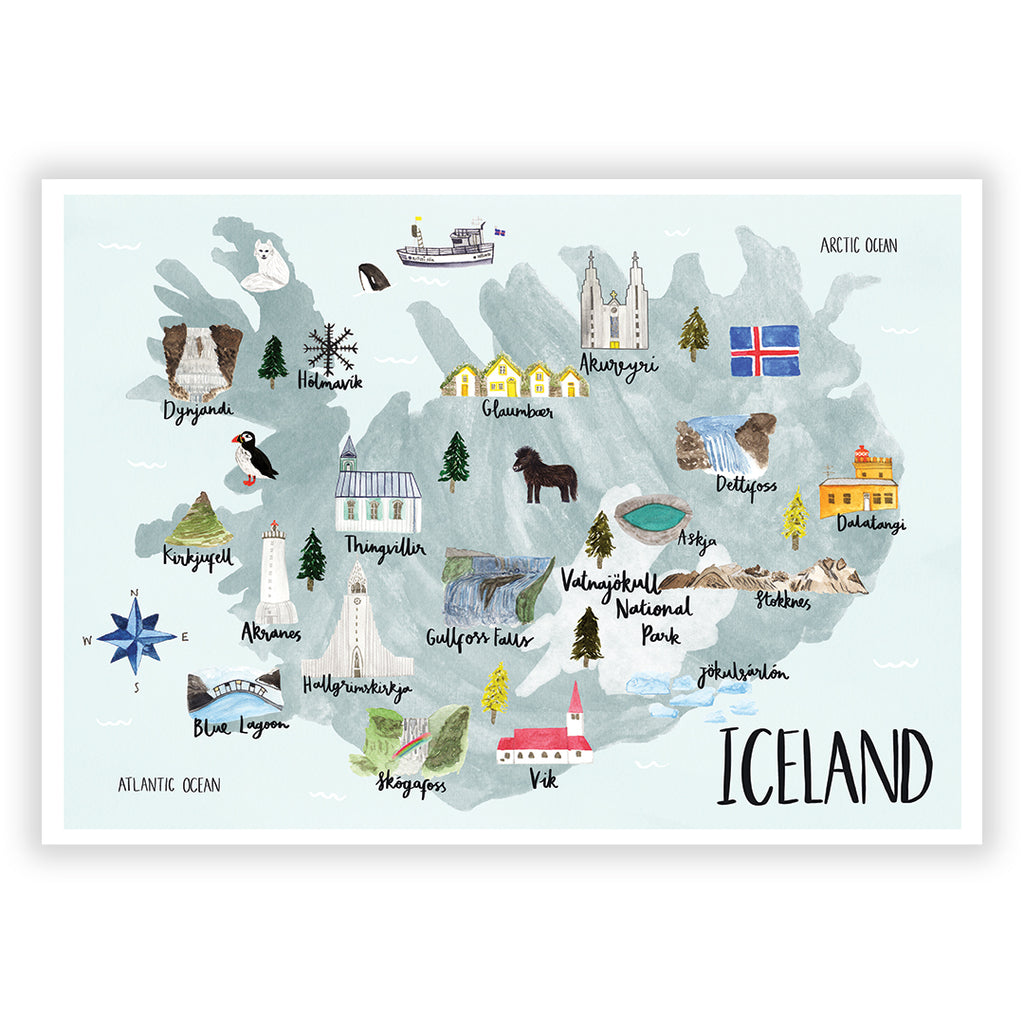 Iceland Map Art Print - Sarah Frances
