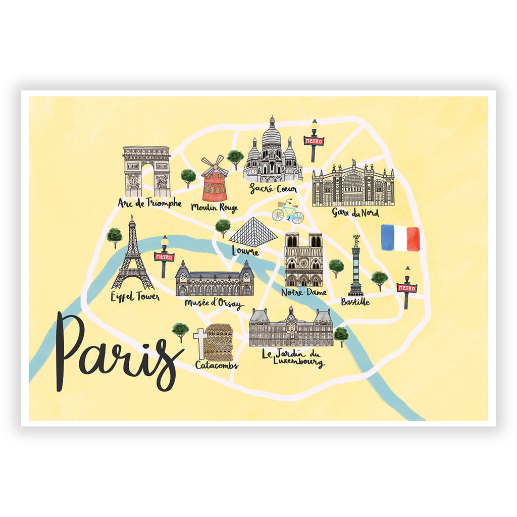Paris Map Art Print - Sarah Frances