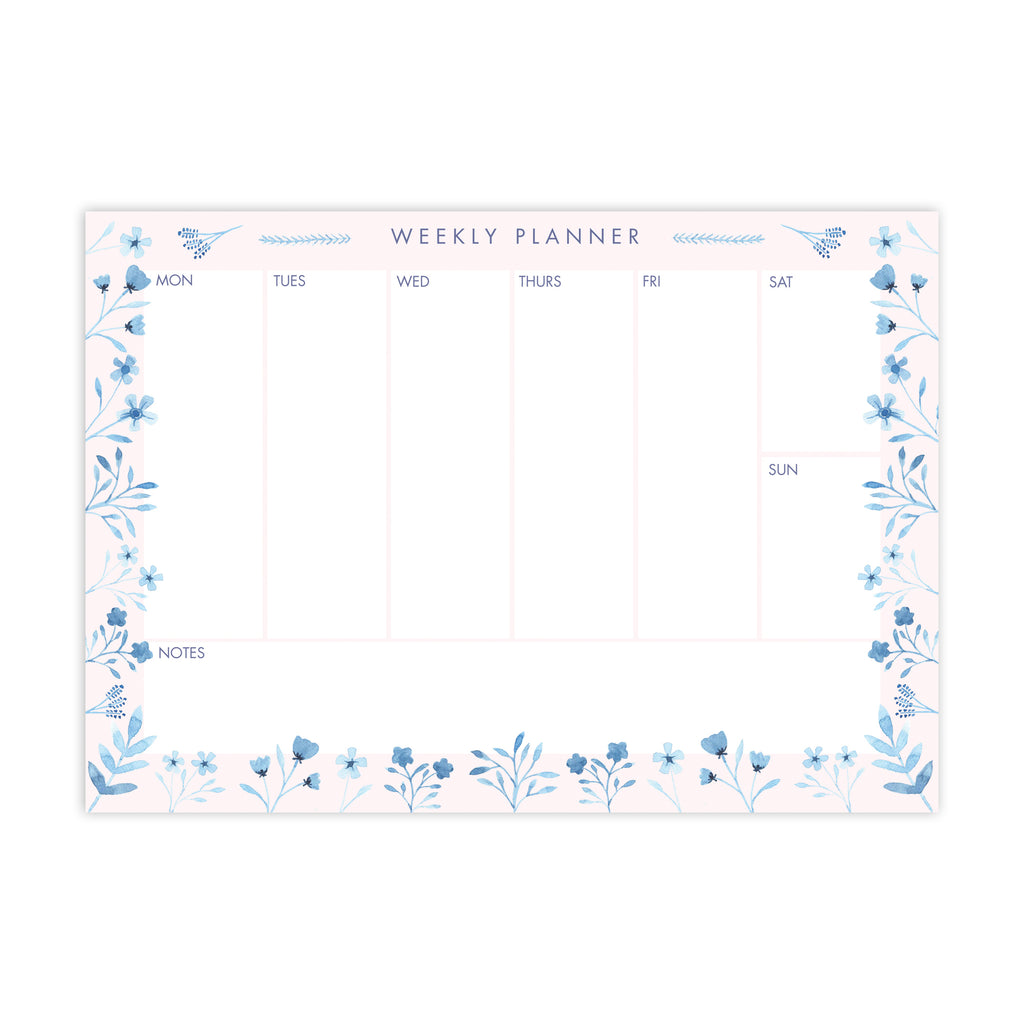 Blue Blooms A5 Notepad - Sarah Frances