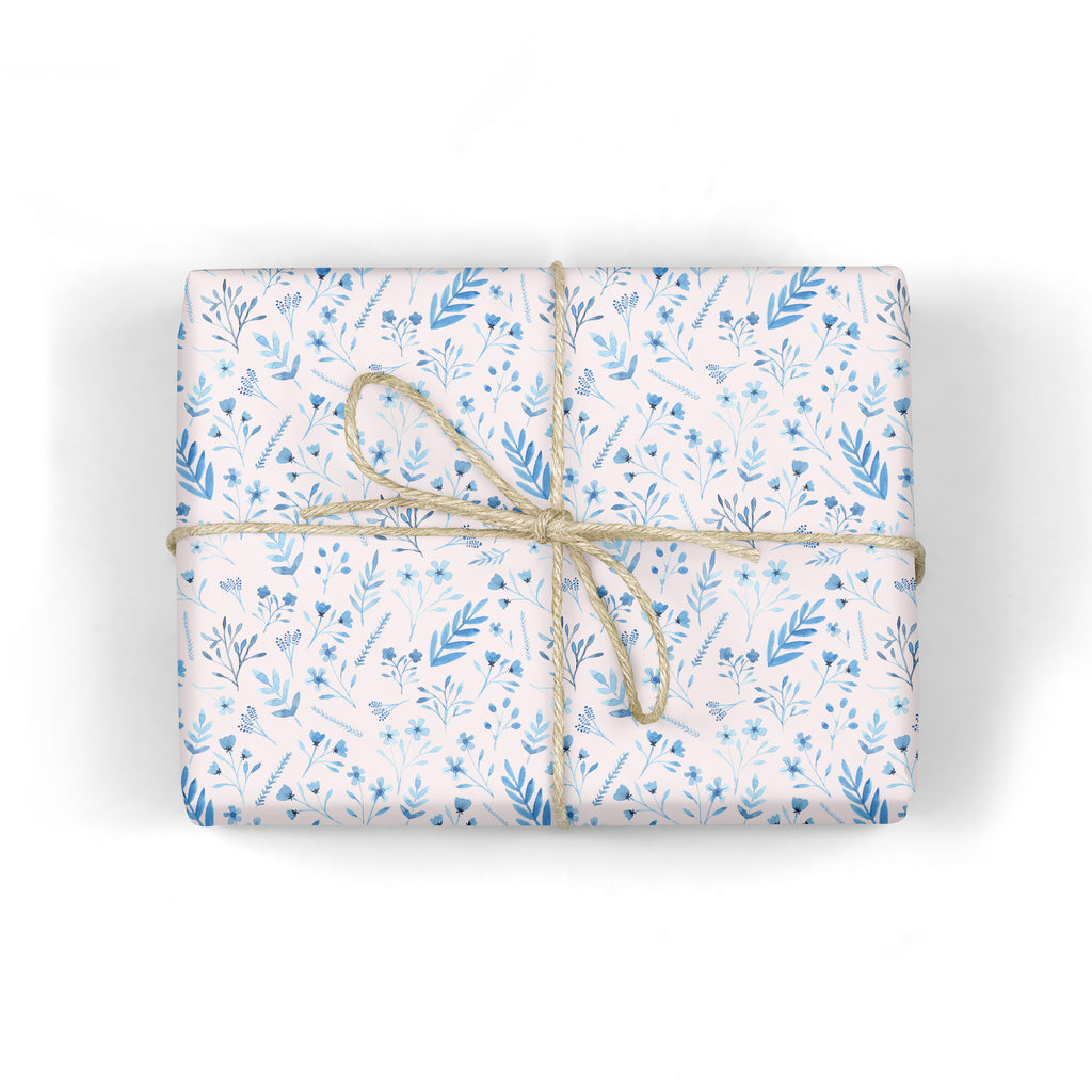 Blue Botanical Wrapping Paper - Sarah Frances