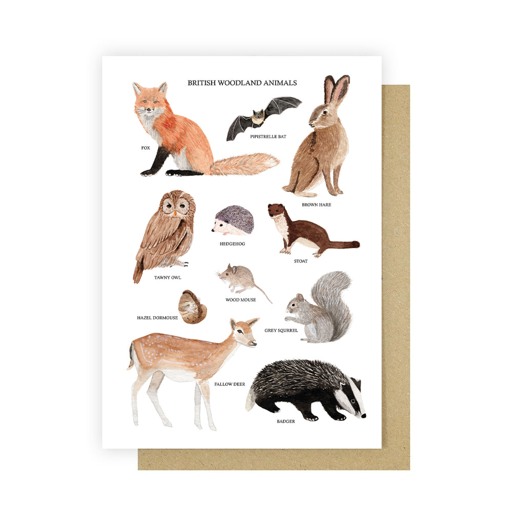 British Woodland Animals Greetings Card - Sarah Frances