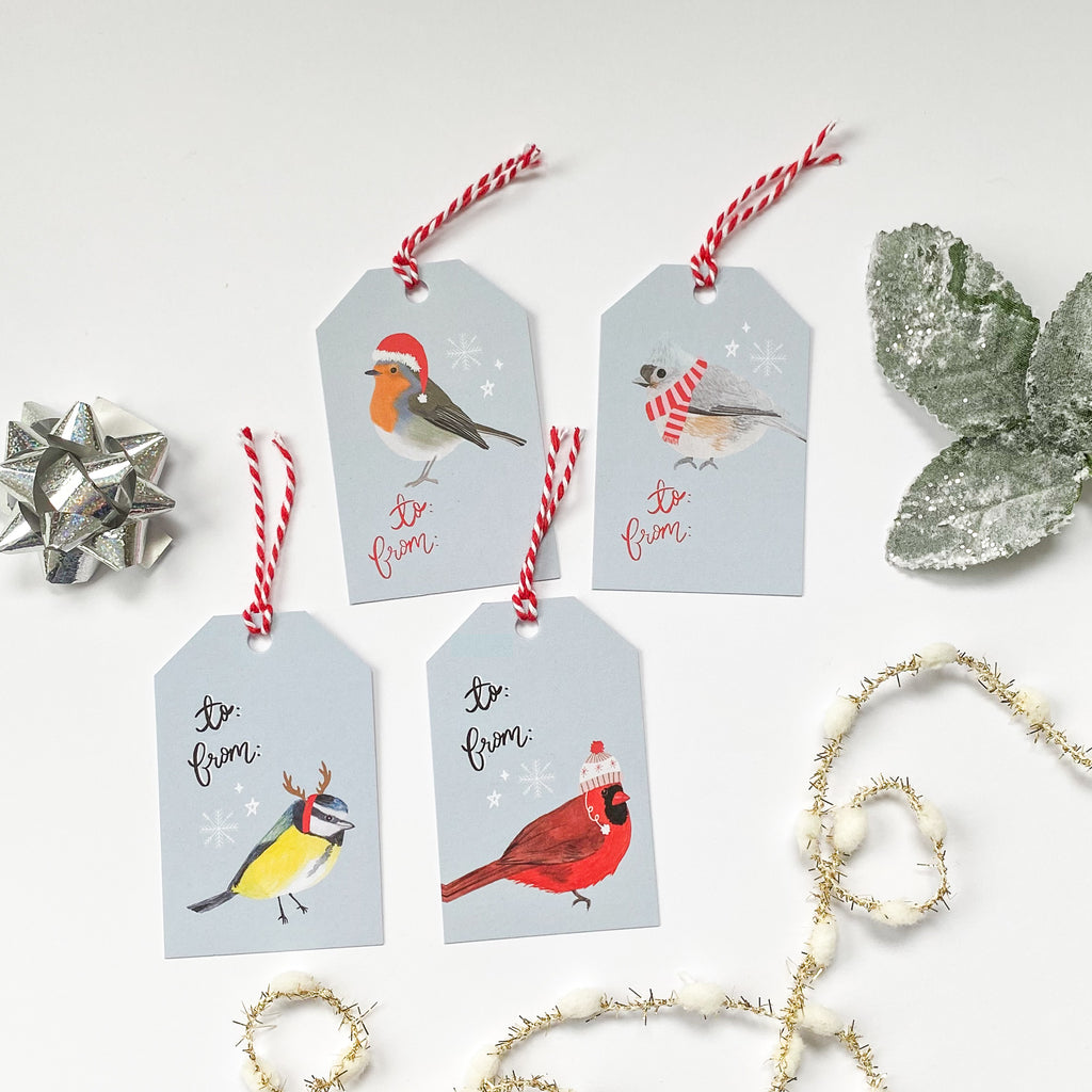 Christmas Birds Gift Tags - Pack of 4 - Sarah Frances