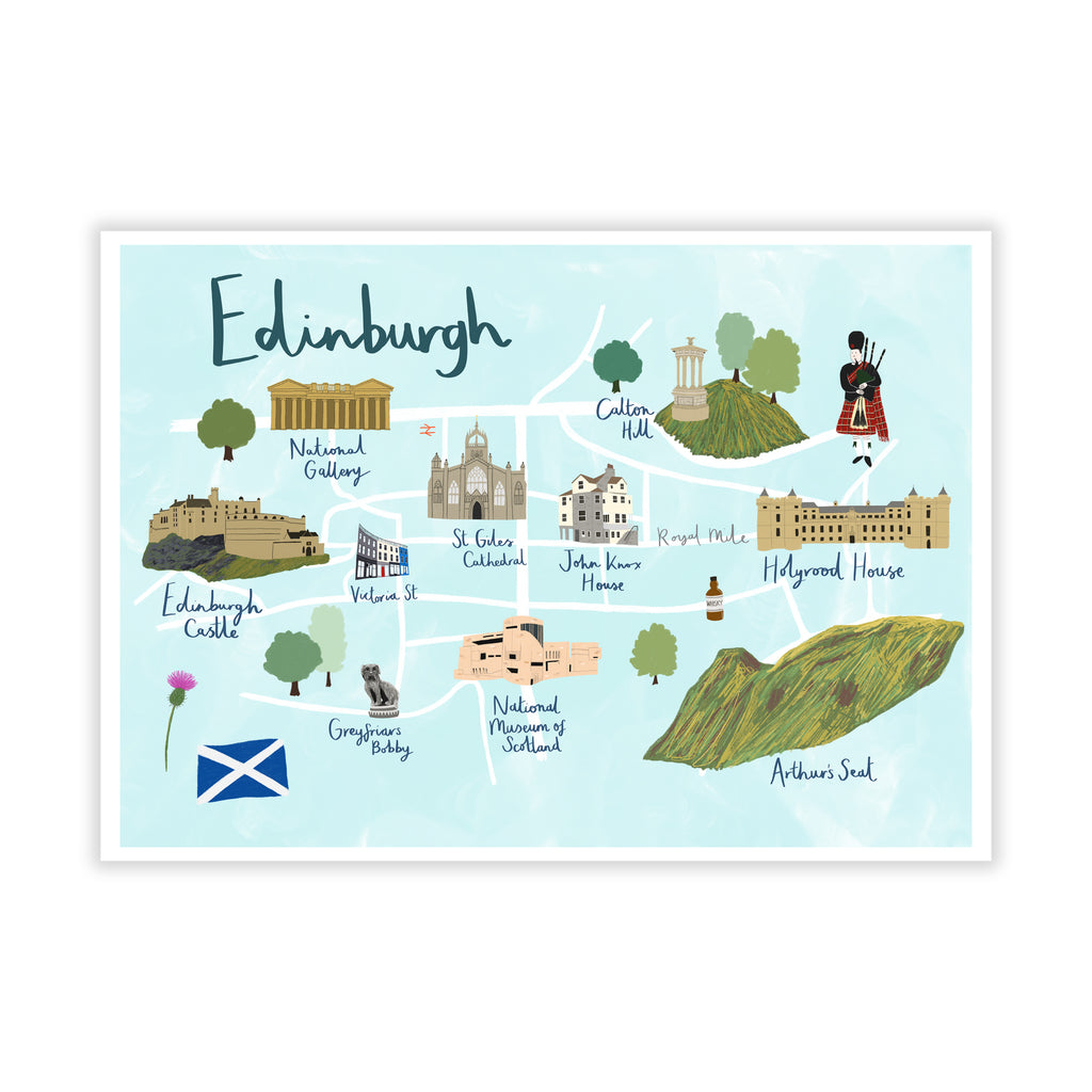 Edinburgh Map Art Print - Sarah Frances