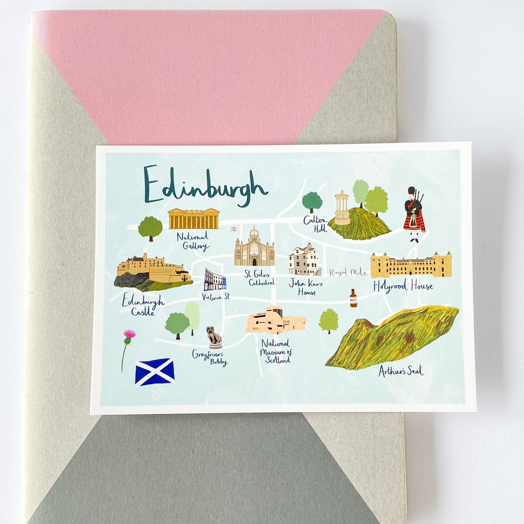 Edinburgh Map Postcard - Sarah Frances