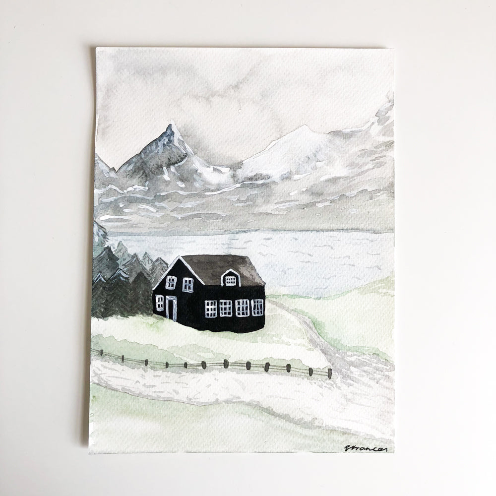 Snowy Mountains - Original Watercolour Painting - Sarah Frances