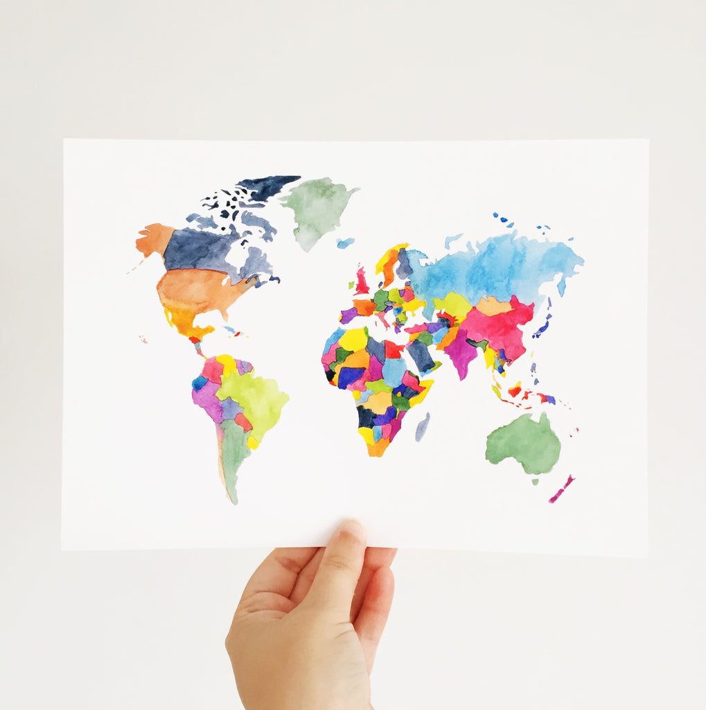 World Map Art Print - Sarah Frances