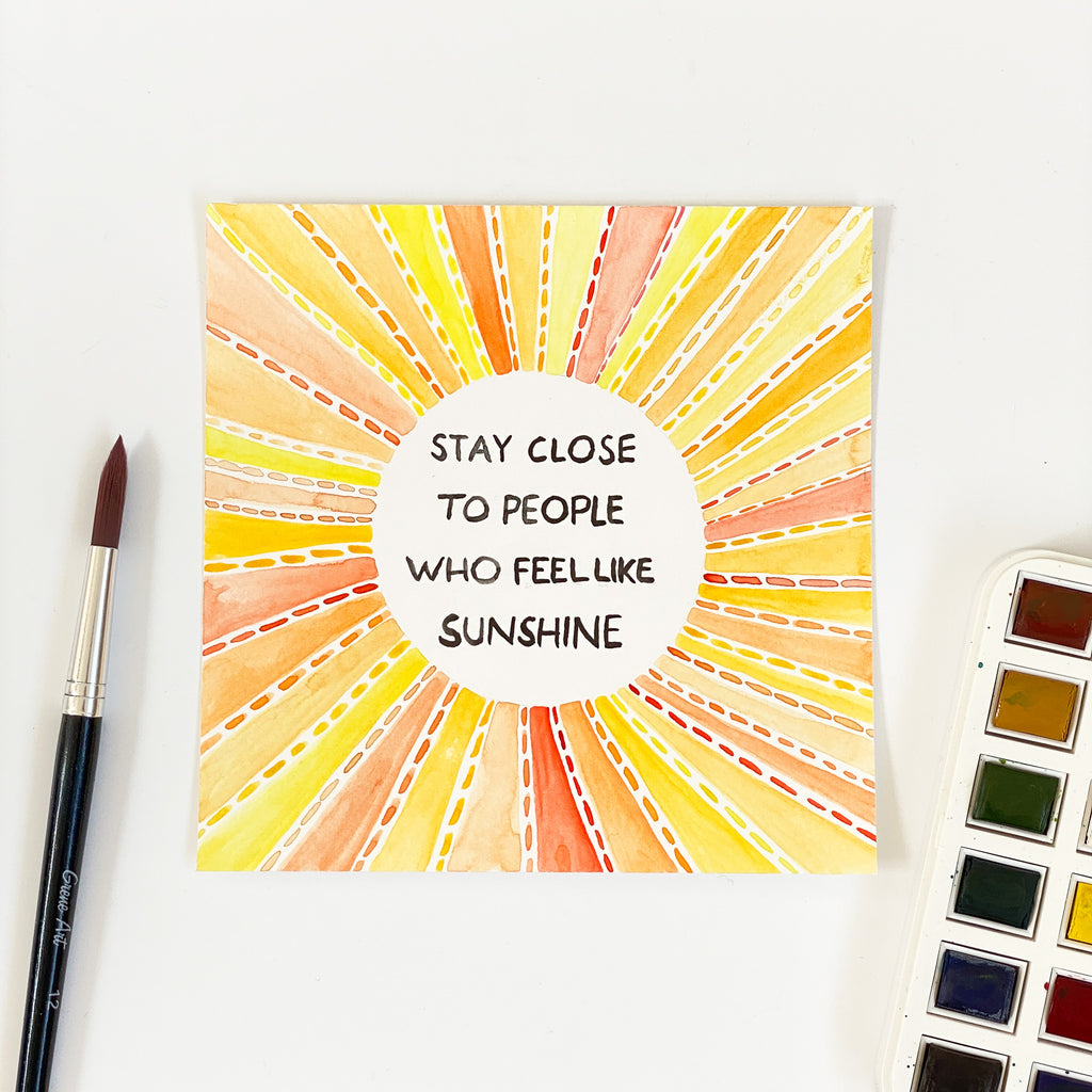 Sunshine - Original 15x15cm Watercolour Painting - By Sarah Frances - Sarah Frances