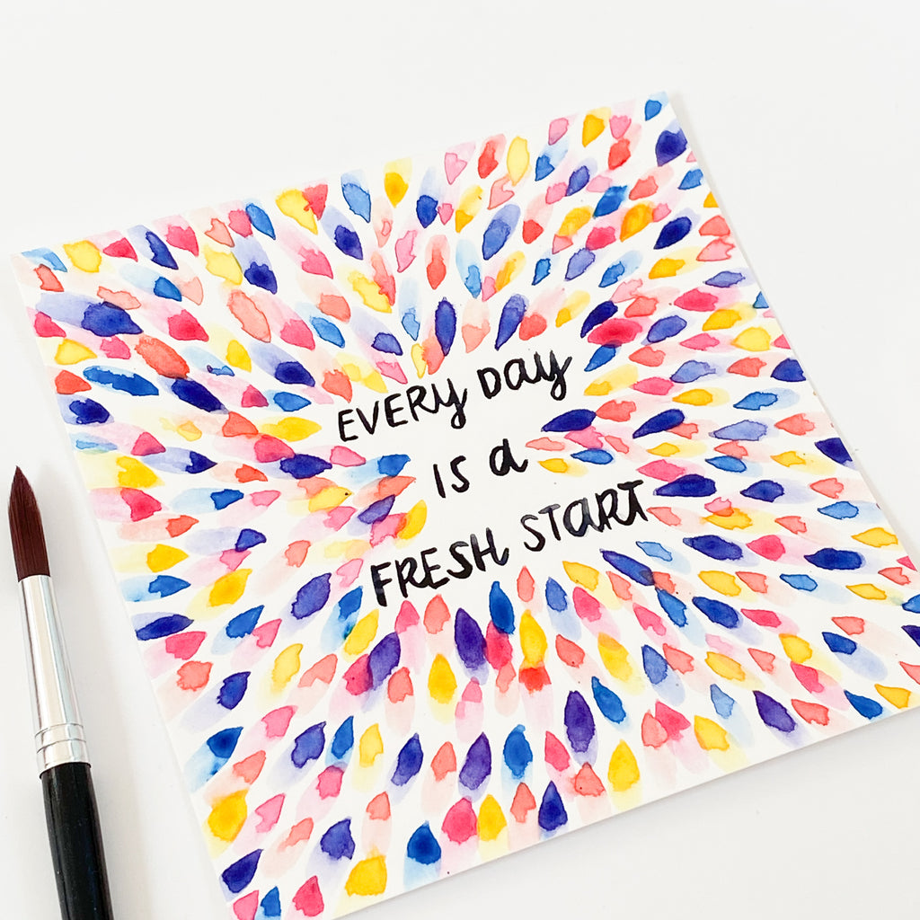 Every Day Is A Fresh Start - Original 15x15cm Watercolour Painting - By Sarah Frances - Sarah Frances