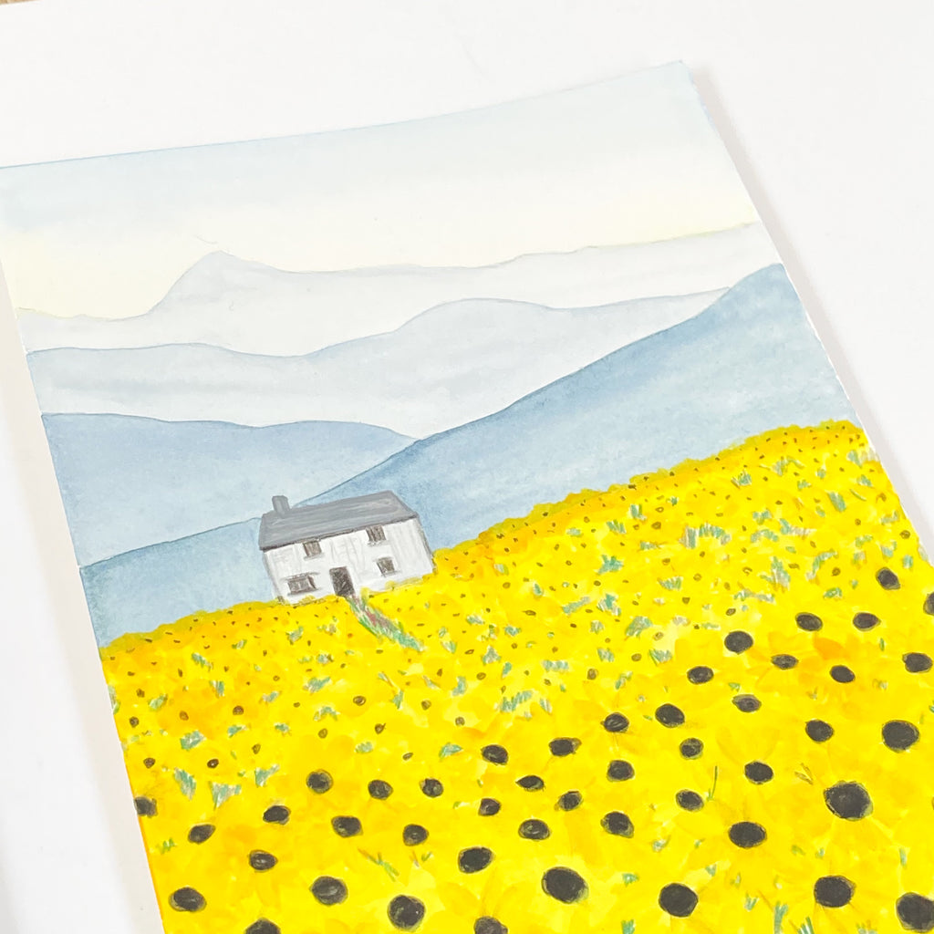 Field of Sunflowers - Original 15x20cm Watercolour Painting - By Sarah Frances - Sarah Frances