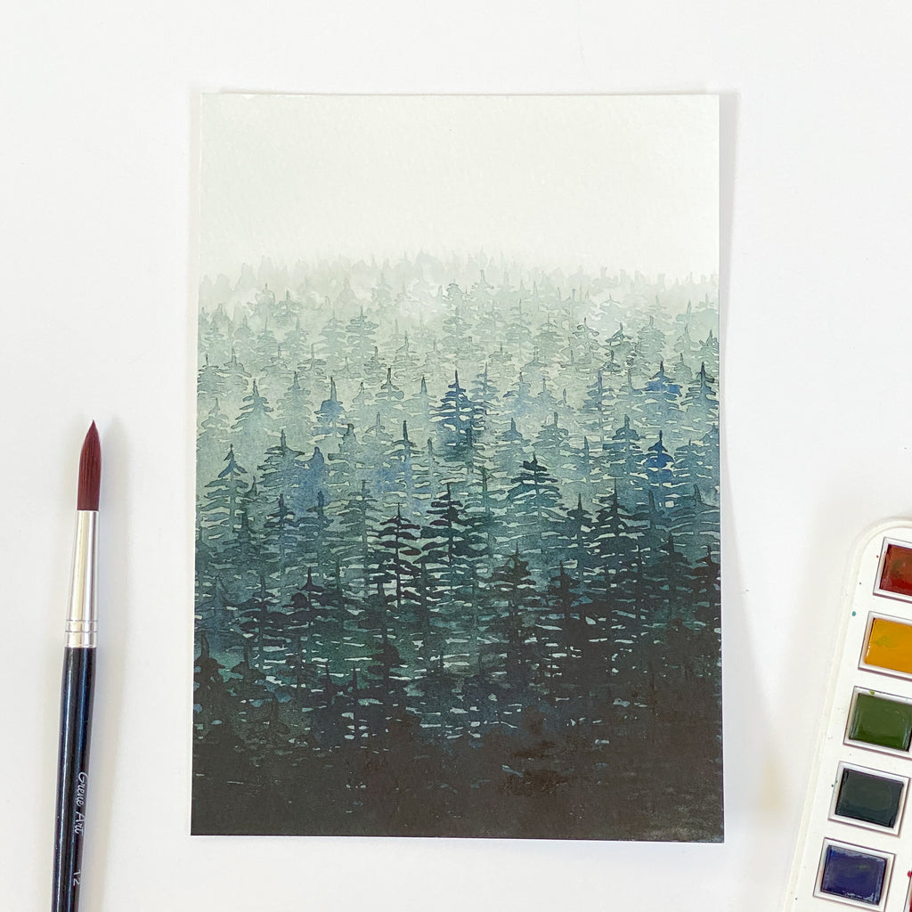 Misty Forest - Original 15x21cm Watercolour Painting - By Sarah Frances - Sarah Frances