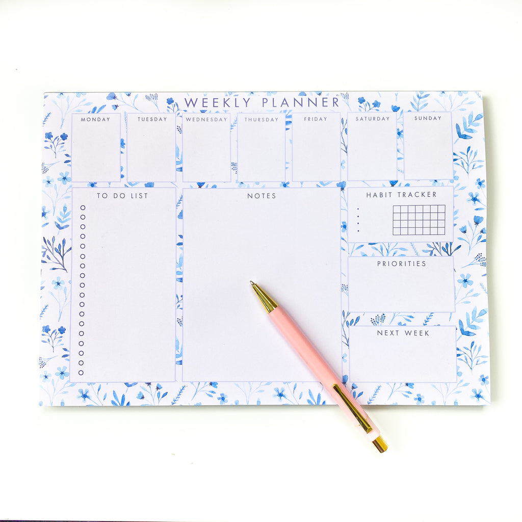 Blue Botanical A4 Weekly Planner - Sarah Frances
