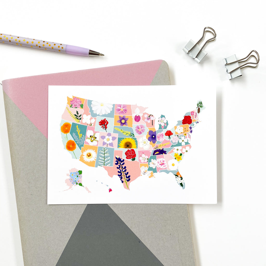 US State Flower Map Postcard - Sarah Frances