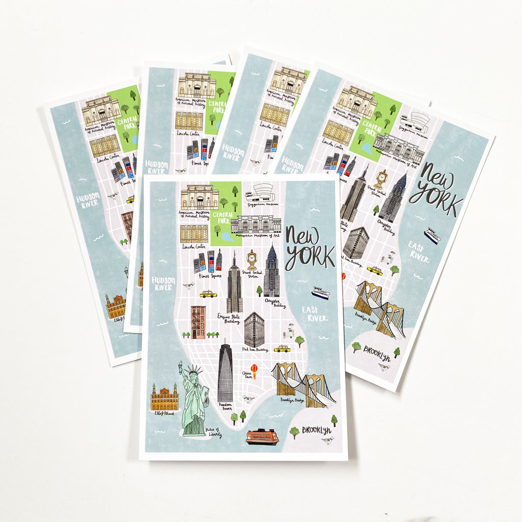 New York Map Postcard - Sarah Frances