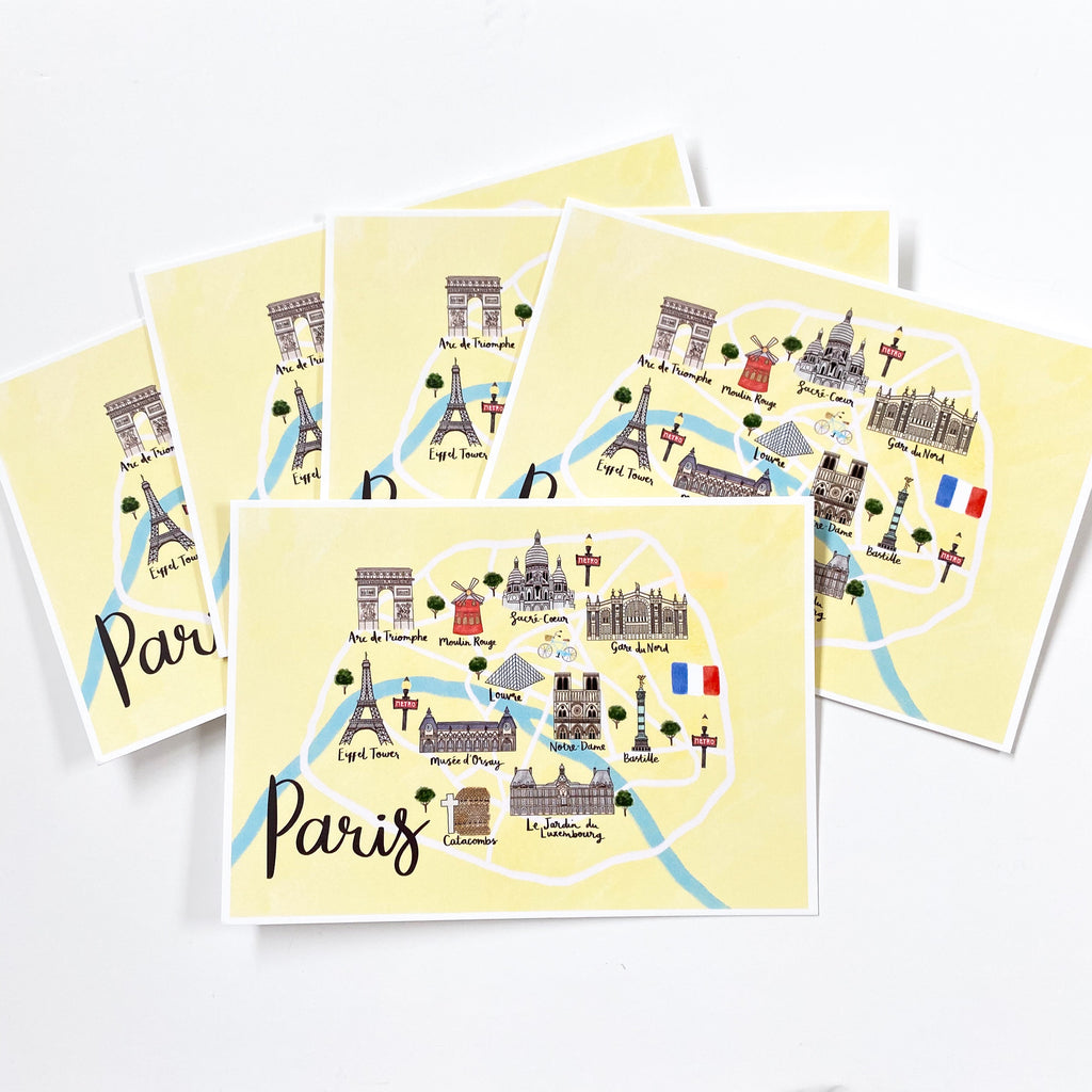 Paris Map Postcard - Sarah Frances