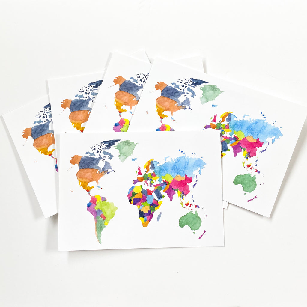 World Map Postcard - Sarah Frances