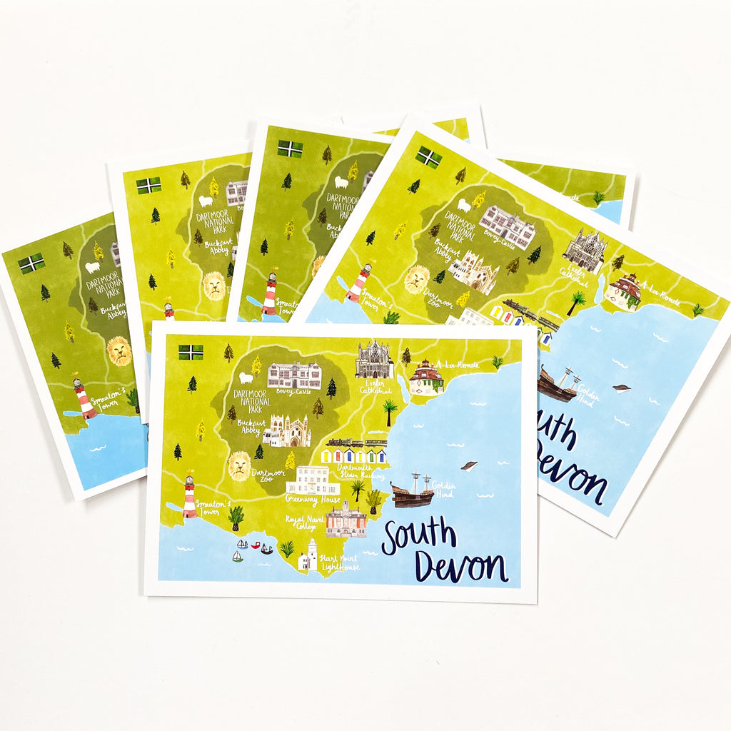 South Devon Map Postcard - Sarah Frances