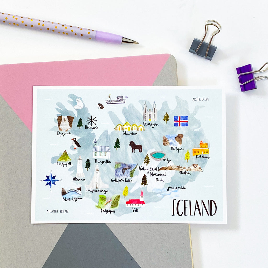 Iceland Map Postcard - Sarah Frances