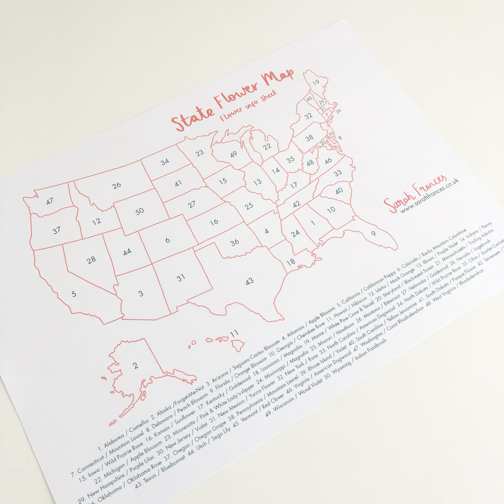 US State Flower Map Art Print - Sarah Frances