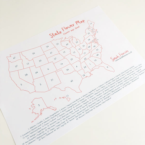 US State Flower Map Art Print