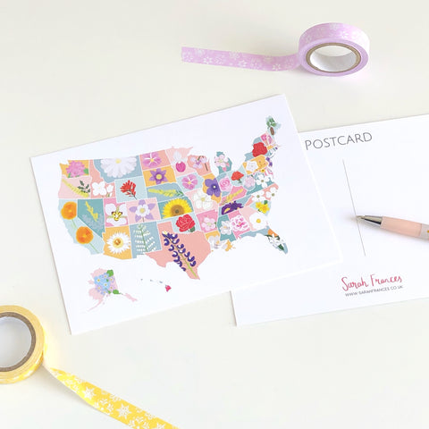 State Flower Map Postcard