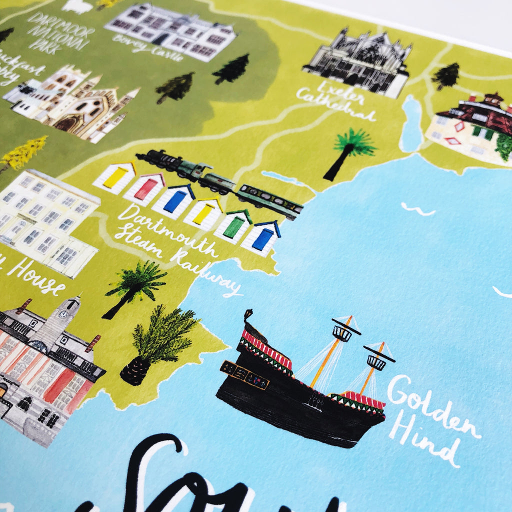 South Devon Map Art Print - Sarah Frances