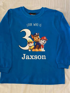 Look who is ? Paw patrol birthday top